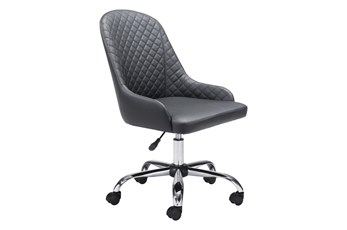 Black Quilted Back Curved Desk Chair