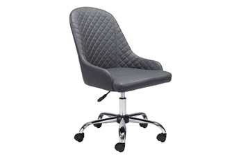 Grey Quilted Back Curved Desk Chair
