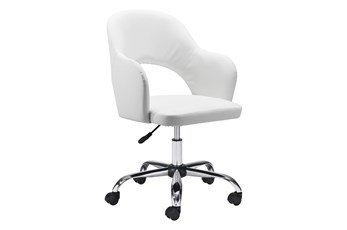 White Vegan Leather Curved Keyhole Desk Chair