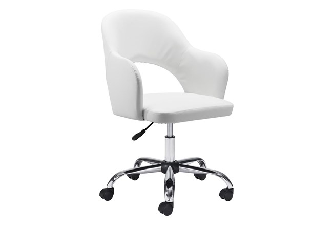 White Vegan Leather Curved Keyhole Desk Chair - 360