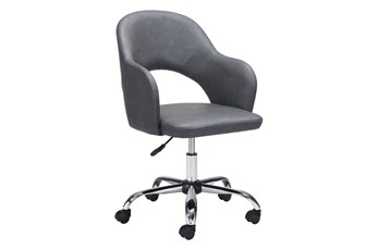 Grey Vegan Leather Curved Keyhole Desk Chair