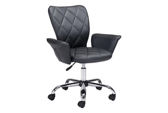 Black Quilted Flare Arm Desk Chair