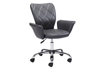 Gray Quilted Flare Arm Desk Chair