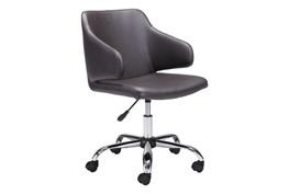 Brown Vegan Leather Modern Arm Desk Chair