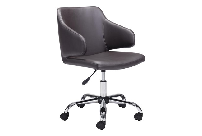 Brown Vegan Leather Modern Arm Desk Chair - 360