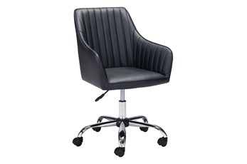 Black Channel Curved Back Desk Chair