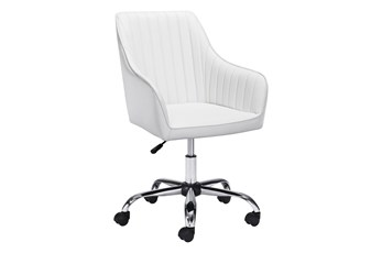 White Channel Curved Back Desk Chair