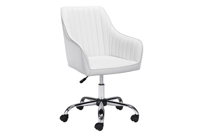 White Channel Curved Back Desk Chair - 360