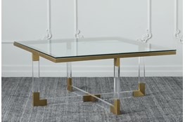 Lucite + Matte Brass Coffee Table