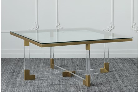 Lucite + Matte Brass Coffee Table - Main