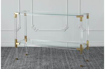 "Lucite + Matte Brass 48"" Sofa Table"