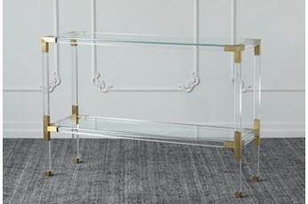 "Lucite + Matte Brass 48"" Sofa Table"