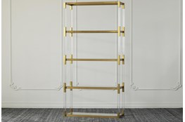 "Lucite + Matte Brass Tall 71"" Bookcase"