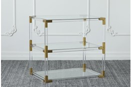 Lucite + Matte Brass End Table