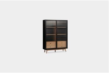 White Oak + Charcoal Sliding Doors Cabinet