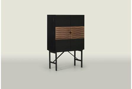 Walnut + Charcoal Bar Cabinet - Main