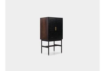 Fumed Eucalyptus + Black Mini Bar Cabinet