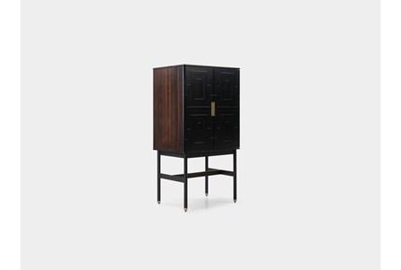 Fumed Eucalyptus + Black Mini Bar Cabinet - Main