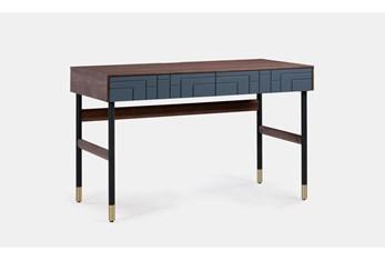 "Walnut + Blue 48"" Writing Desk"