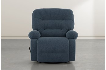 Decker III Denim Swivel Glider Recliner