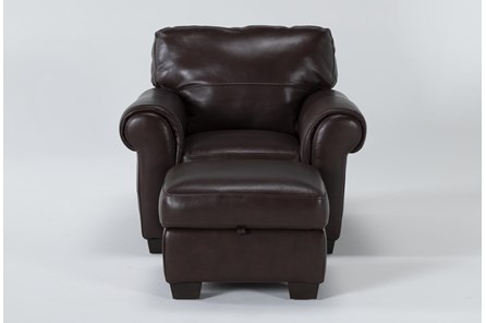 Bacchus Leather Accent Chair And Storage Ottoman - Main