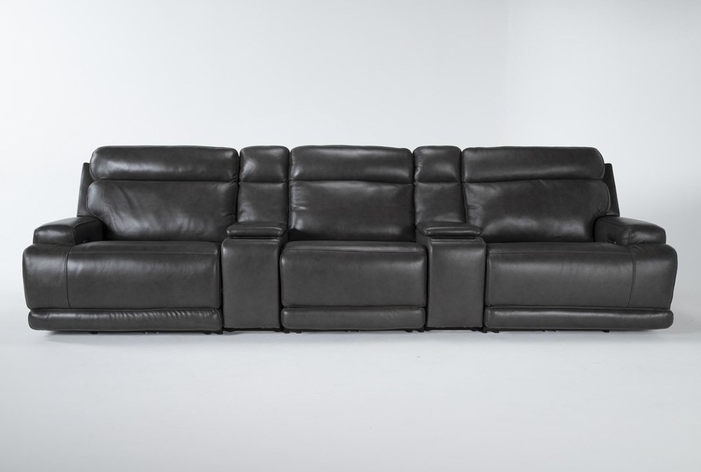Vance Zero Gravity Grey 5 Piece Home Theater Pwr Rcln Sofa With Power Headrest