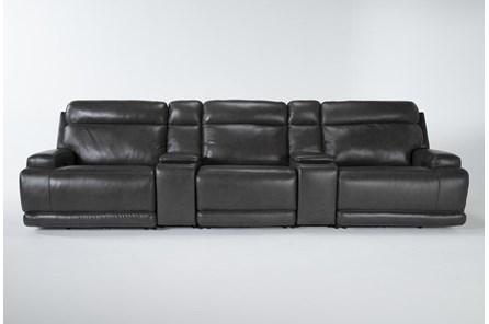 Vance Zero Gravity Grey 5 Piece Home Theater Pwr Rcln Sofa With Power Headrest - Main