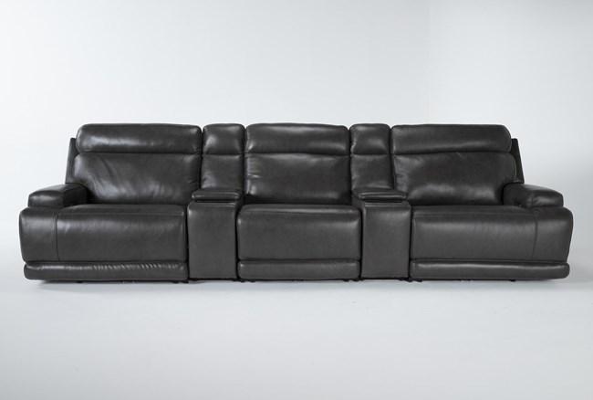 Vance Zero Gravity Grey 5 Piece Home Theater Pwr Rcln Sofa With Power Headrest - 360