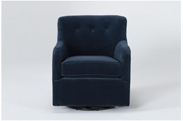 Katrina Velvet Blue Swivel Glider Chair