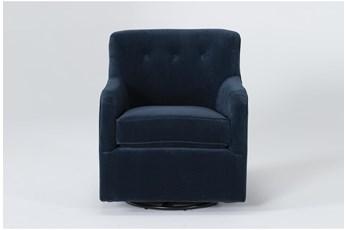 Katrina Velvet Blue Swivel Glider Chair