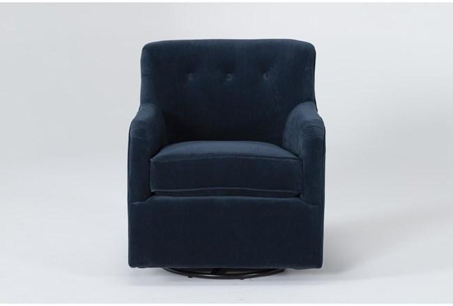Katrina Velvet Blue Swivel Glider Chair - 360
