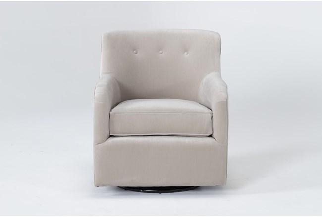 Katrina Velvet Dove Swivel Glider Chair - 360