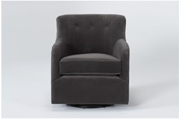 Katrina Velvet Grey Swivel Glider Chair