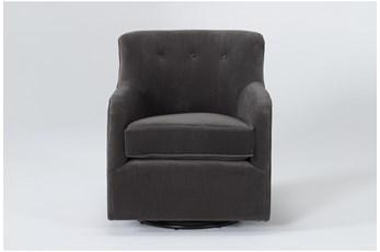 Katrina Velvet Grey Swivel Glider Chair