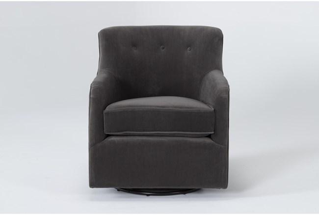 Katrina Velvet Grey Swivel Glider Chair - 360