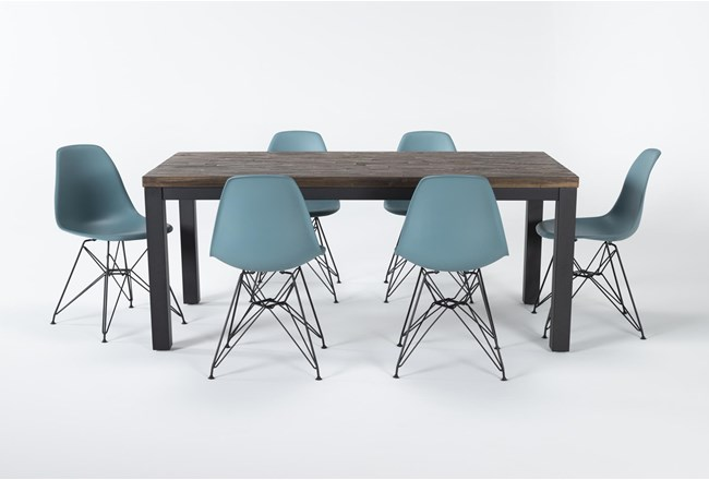 Gabe 7 Piece Dining Set With Alexa Reef Chairs - 360