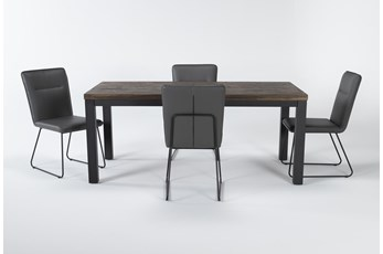 Gabe 5 Piece Dining Set With Kylie Grey Chairs