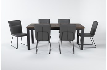 Gabe 7 Piece Dining Set With Kylie Grey Chairs