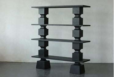 "Black Oak Geometric 67"" Bookcase"