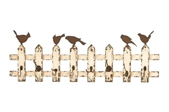 Wood And Metal Picket Fence With Birds Wall Hooks