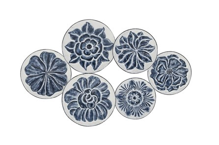 Blue And White Floral Metal Wall Decor - Main