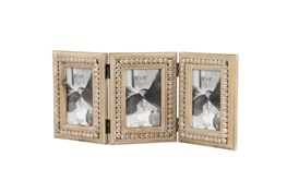 Wood 3 Photo Folding Picture Frame With Bead Trim Detailing