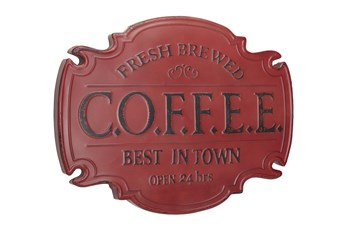 Red Metal Coffee Emblem Wall Decor