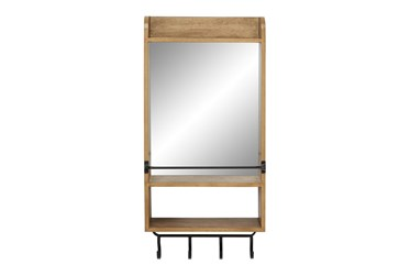 Wood Wall Mirror With Shelf And Metal Hooks