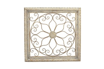Gold Wood And Metal Framed Scrollwork Wall Decor