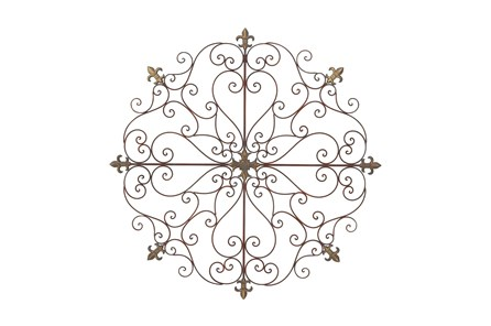 Round Brown Metal Medallion Wall Decor - Main