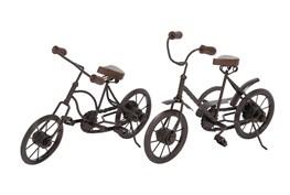Black Metal And Wood Bicycle Sculpture-Set Of 2