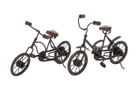 Black Metal And Wood Bicycle Sculpture-Set Of 2 - Main