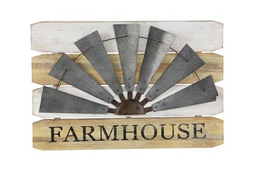 Farmhouse Wood And Metal Windmill Outdoor Wall Decor
