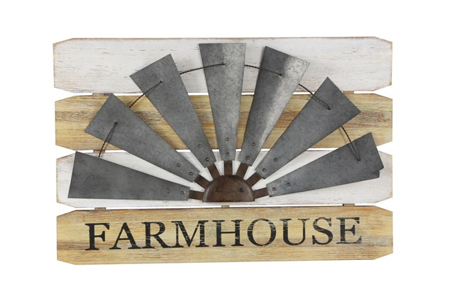 Farmhouse Wood And Metal Windmill Outdoor Wall Decor - 360